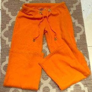 Tory Burch sz sm orange sweat pants w/ gold accent